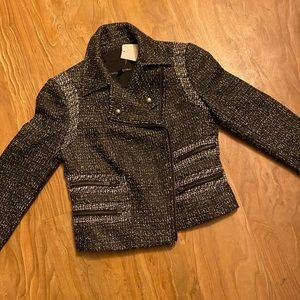 Chic tweed moto jacket w/ gunmetal hardware! 198$